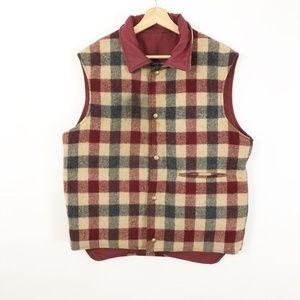 VTG Wool Red Blue Plaid Checkered Vest Workwear